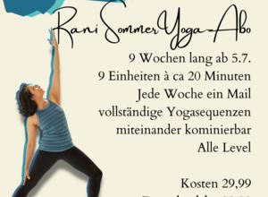 Rani's SommerYoga-Abo = 9 Wochen -  jeden Montag - 20 Minuten Yoga für dich